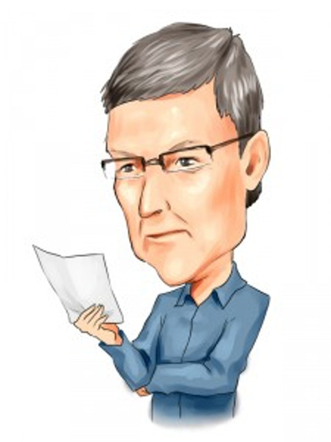 Tim Cook holding chart