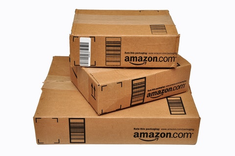 Amazon.com, Inc. (NASDAQ:AMZN), boxes, packages,isolated, delivery, shipping,