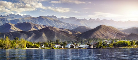 kyrgyzstan, kul, issyk, panorama, ordo, view, ruh, lake, complex, outdoor, tree, shore, park, green, travel, mountains, scenery,