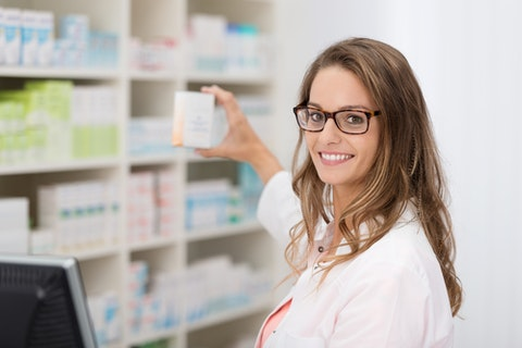 pharmacist, worker, shelves, business, counter, glasses, attractive, medical, competence, chemist, adult, clinic, drugstore, selling, female, consultation, medicine, coat