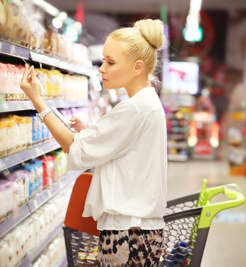 store, sale, customer, market, blond, embracing, buying, adult, decisions, freezer, supermarket, people, one, comparison, shopping, woman, choosin