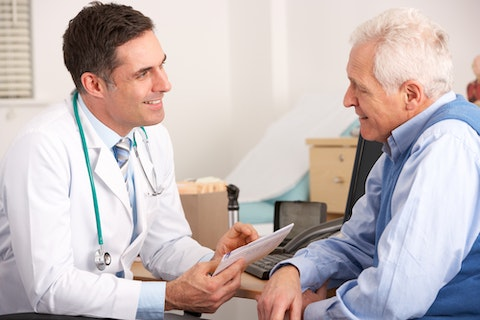 doctor, patient, talking, man, male, physician, senior, older, consultant, medical, smiling, people, helpful, adult, desk, working, usa, american, practitioner, horizontal, taking