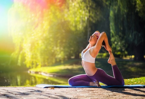 yoga, pose, smiling, woman, health, sport, zen, girl, slim, hands, natural, park, white, diet, peace, trees, happiness, adult, fit, morning, lake, fitness, serene, people,