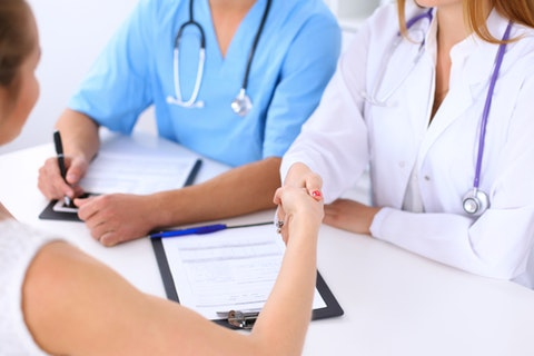 health, patient, doctor, handshake, business, clinic, female, positive, medicine, shake, medic, therapy, coat, woman, professional, attentive, assistance, career, work,