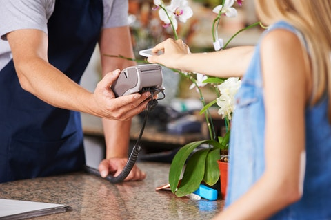 retail, payment, cashless, contactless, checkout, customer, shop, phone, flower, scanner, garden, market, reader, card, store, pay, buy, password, hardware, consumption,