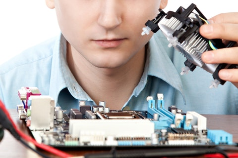 ibm, pc, testing, closeup, isolated, human, technician, mainboard, technical, white, tool, hardware, power, business, engineering, repairman, processor, install, occupation,