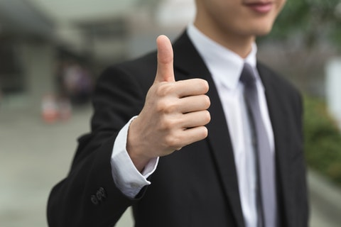 excellent, business, asia, suit, up, man, outdoor, closeup, leader, guy, thumb, chinese, urban, sign, symbol, finger, male, kong, outside, occupation, east, satisfaction,
